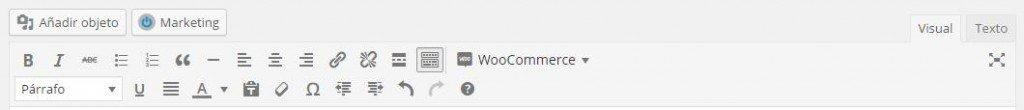 Editor visual de WordPress con el plugin Woocommerce instalado