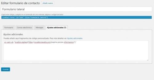 Redirigir desde Contact Form 7 a nuestra página de gracias por solicitar información en Covalenciawebs