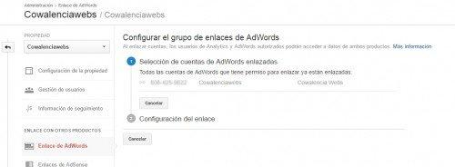 Enlazar cuentas de Analytics y Adwords, cowalenciawebs