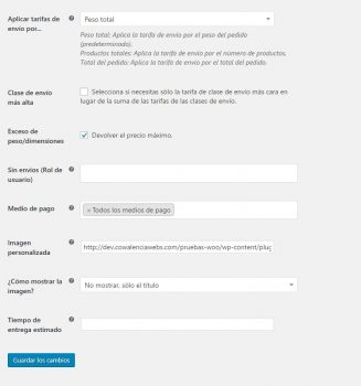 Configuración plugin APG woocommerce. Cowalenciawebs