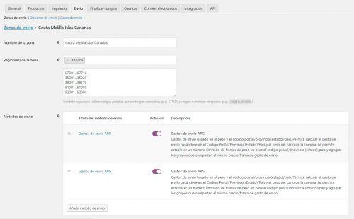 crear tipo de envío en woocommerce Cueta, Melilla, Canarias- Cowalenciawebs