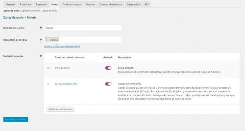 crear tipo de envío en woocommerce España - Cowalenciawebs