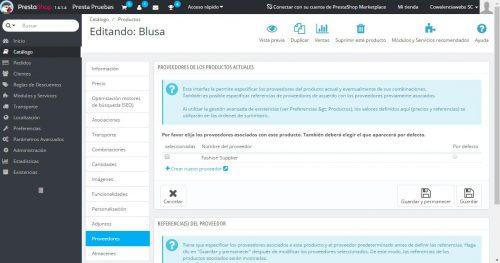 Configurar proveedores de productos en prestashop