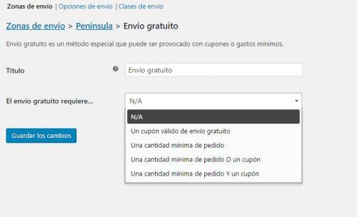 Configurar método de envío gratuito en la configuración de los gastos de envío en Woocommerce 3.0
