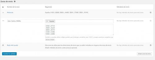 Crear zonas de envío en la configuración de los gastos de envío en Woocommerce 4.6