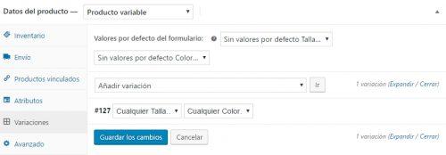 Añadir variación de Datos de productos variables en Woocommerce. Cowalenciawebs