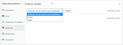 Atributos de Datos  de productos variables en Woocommerce. Cowalenciawebs