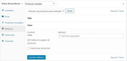 Términos de Atributos de Datos de productos variables en Woocommerce. Cowalenciawebs