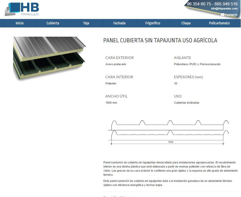 hbpaneles diseño web catalogo productos wordpress valencia producto