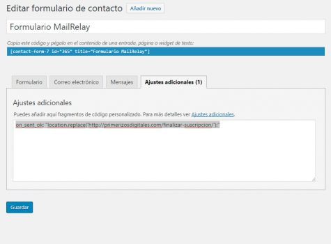 Añadir CAPTCHA a MailRelay con Contact Form 7