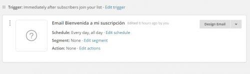 Automation de MailChimp. Secuencia de emails en mailchimp