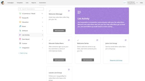 Automation MailChimp. List Activity para crear secuencias de emails