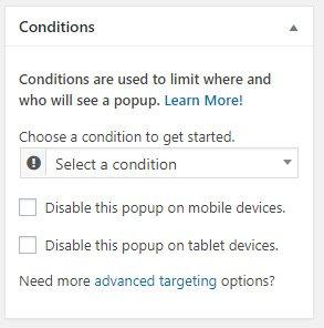 Crear popups en WordPress con Popup Maker condiciones mostrar 01