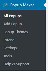 Crear popups en WordPress con Popup Maker menu