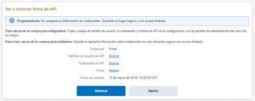 Cómo obtener la contraseña de la API de PayPal 2018 para woocommerce