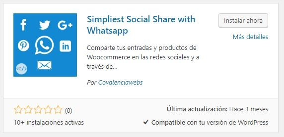 instalacion plugin Simpliest Social Share with Whatsapp
